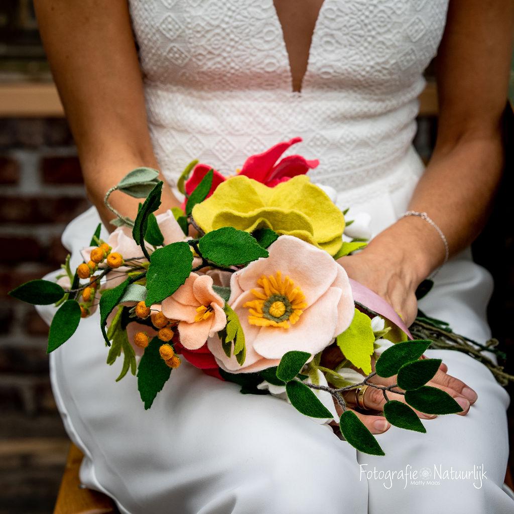 Bruidsboeket met papavers