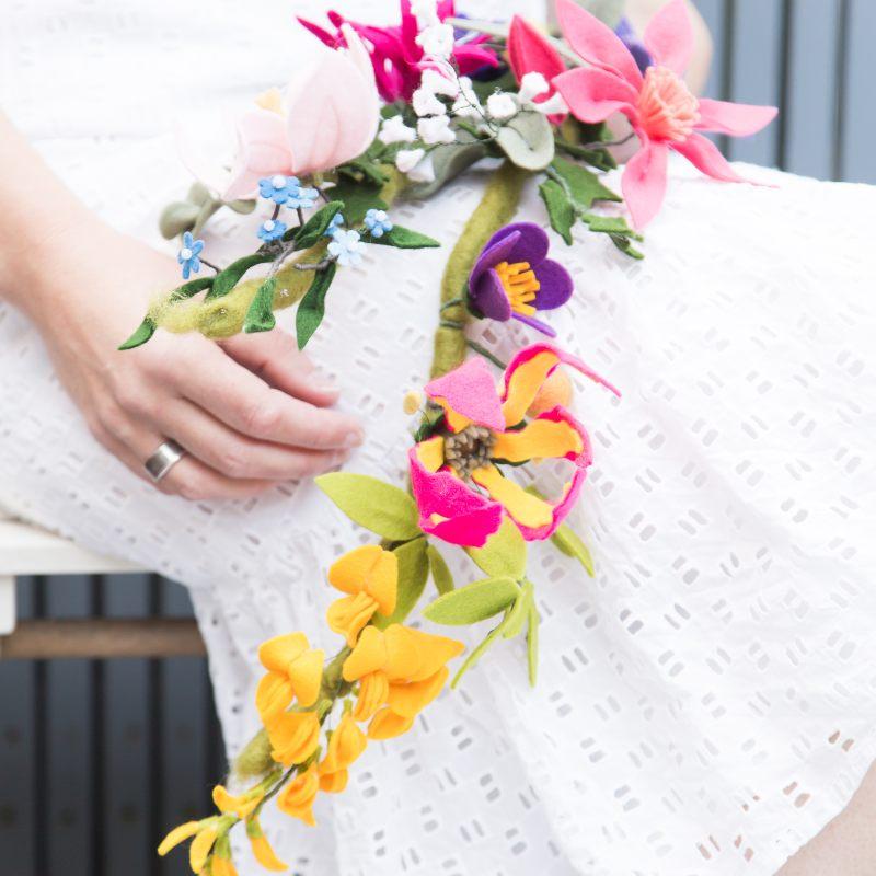 Aternatief Bruidsboeket met Vilten Bloemen